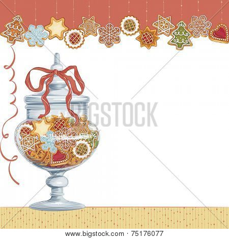 Composition with Christmas cookies in glass vase on white background