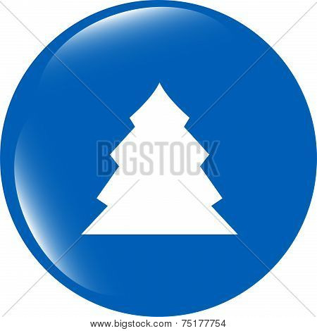 Button With Christmas Tree On It Isolated On White Background