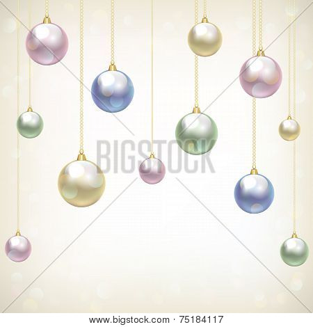 Christmas card with hanging baubles on light background poster