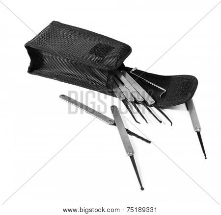 Lock picks isolated on white