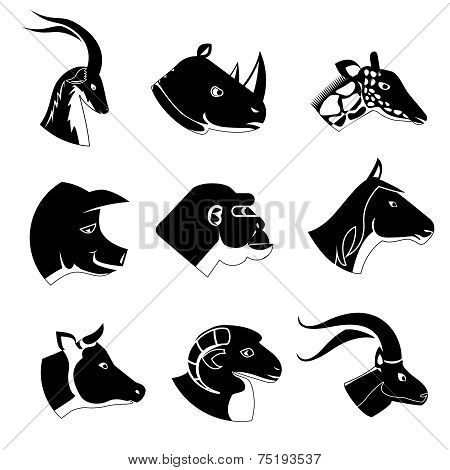 Animal heads silhouette icons
