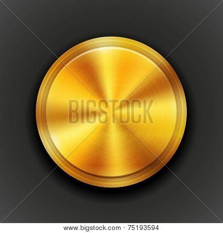 Vector gold textured metal button