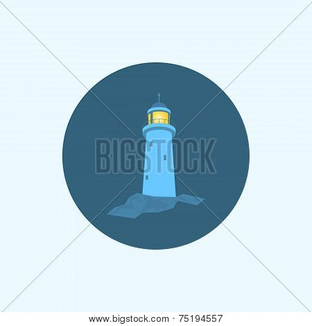 Icon with colored lighthouse, vector illustration