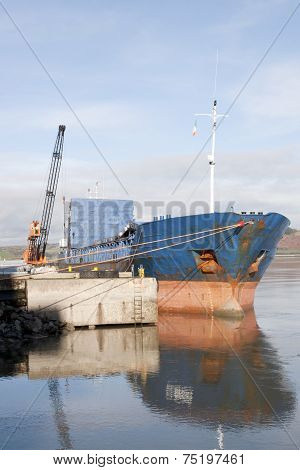 Large Boat Being Loaded With Steel