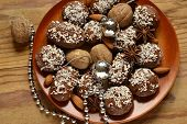 Cookies with coconut chips and Christmas decorations poster