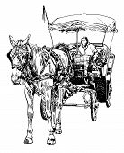 black and white sketch drawing of horse driver, vector illustration poster