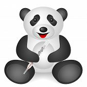 Panda medical thermometer on a white background. poster