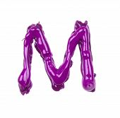 pink oil alphabet - letter M. White background poster