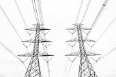 Abstract hight voltage tower line on the sky background. poster