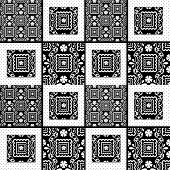 Patchwork retro seamless lace black white pattern texture background poster