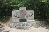 Memorial to First World War French dead at the Tranchee de la Soif (Trench of Thirst) near St Mihiel, France poster