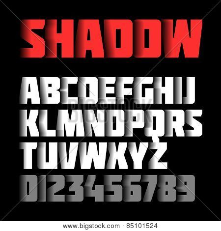 Shadow font, alphabet and numbers. Vector.