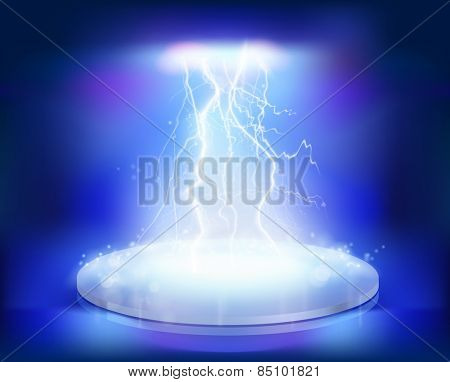 Electrical explosion on the stage. Vector illustration.