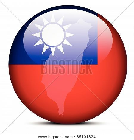 Map On Flag Button Of Republic  China