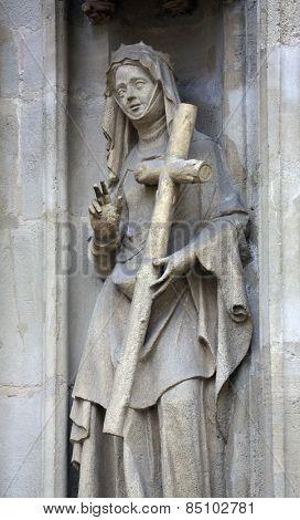 VIENNA, AUSTRIA - OCTOBER 11: Saint Helena of Constantinople facade of Minoriten kirche in Vienna, Austria on October 11, 2014.
