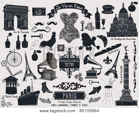 Paris Landmarks, Symbols and Icons - Set of over 40 design elements themed around France and Paris, including famous landmarks, subway sign, corset, vintage fashion, banners and swirls, monochrome