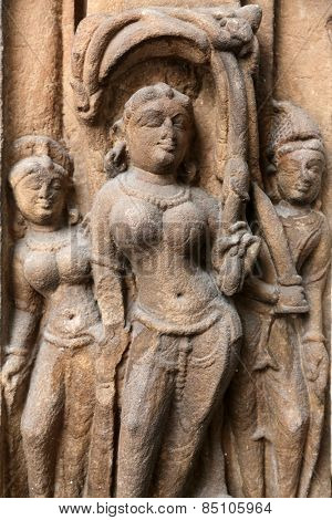 KOLKATA, INDIA - FEBRUARY 15: Door frame with Ganga and Yamuna lintel: Surya, from 10th century found in Banaras, Uttar Pradesh now exposed in the Indian Museum in Kolkata, on February 15, 2014