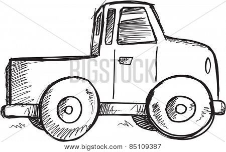 Doodle Sketch Truck Vector Illustration Art