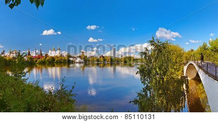 Izmailovo Kremlin and lake - Moscow Russian - travel background poster