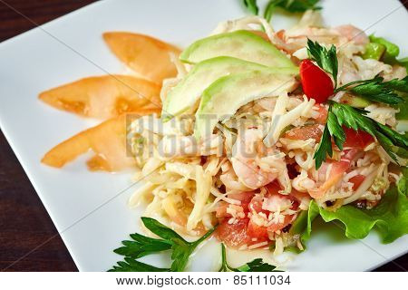 Mouthwatering salad of shrimp and vegetables