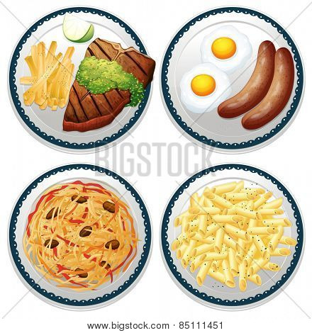 Four dishes of different kind of food