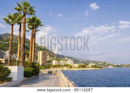 View of seaside Champions Promenade and Mediterranean coast  in Monaco poster