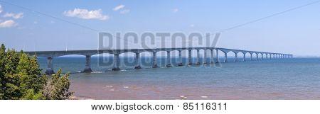 Panorama of Confederation Bridge to Prince Edward Island, view from New Brunswick coast in Canada.