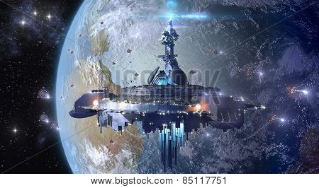 Alien mothership near Earth