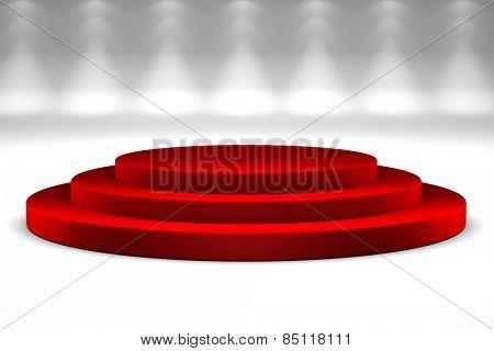 Podium with red carpet over studio background
