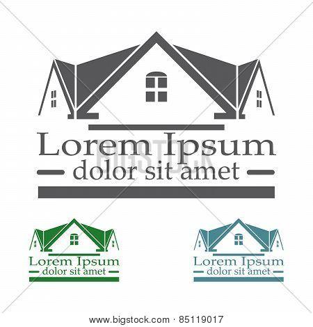 Real Estate Vector Logo Design Template Color Set. Rooftop Abstract Concept Icon. Realty Constructio