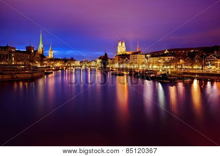 view on Fraumunster Church, Church of St. Peter and Grossmunster at night, Zurich, Switzerland
