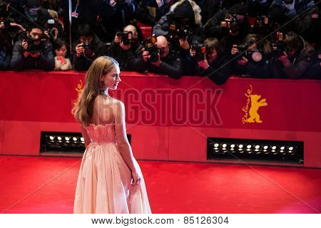 BERLIN, GERMANY - FEBRUARY 13, 2015:  Lily James attends the 'Cinderella' premiere during the 65th Berlinale Film Festival at Berlinale Palace on February 13, 2015 in Berlin, Germany.