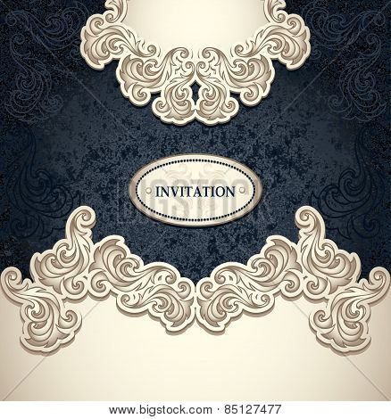 Template vintage background pearly beige black