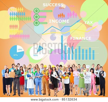Workers People group near colorful infographic background.