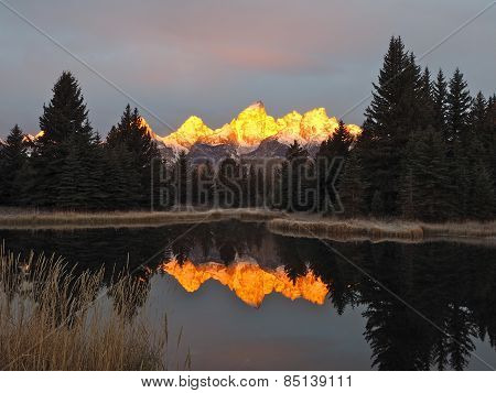 Schwabachers Landing with Reflected Mountains at Dawn