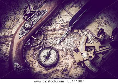 vintage  still life with compass,sextant and spyglass .Vintage tone