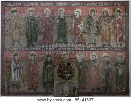 ELLWANGEN, GERMANY - MAY 07: Saints,  Basilica of St. Vitus in Ellwangen, Germany on May 07, 2014.