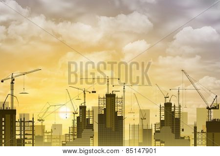 A Construction Site with Lots of Tower Cranes with Sunset, Sunrise.