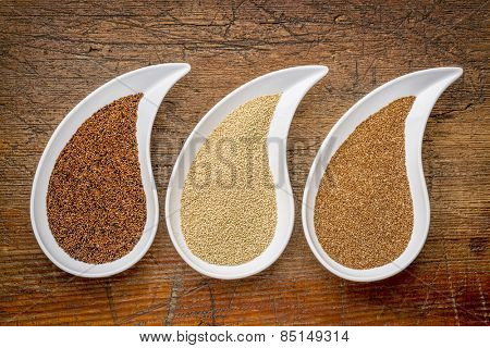three tiny gluten free grains - kaniwa, amaranth and teff on teardrop shaped bowls against rustic wood