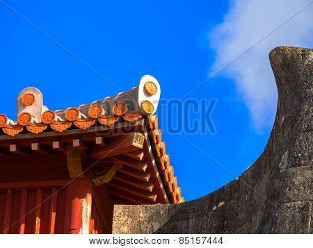 Stucco Roof and rampart of Shurijo castle, Okinawa