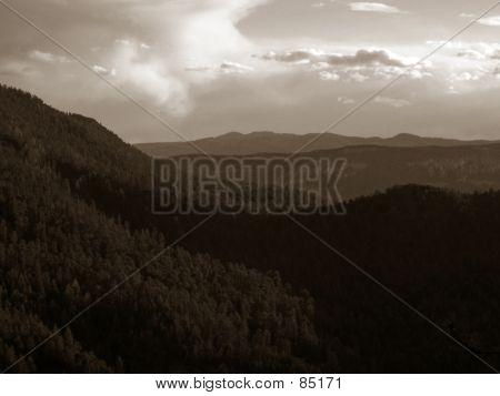 Mountain Ridges - Sepia