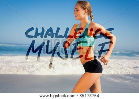 Fit woman jogging on the beach against challenge myself