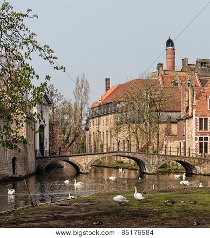 The romantic Minnewater park in the heart of the famous city of Bruges with the entrance to the medieval beguinage.