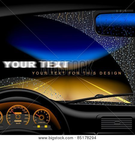 Night highway in rain from inside of the car. Vector illustration.