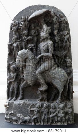 KOLKATA, INDIA - FEBRUARY 15: Revanta, from 11th century found in Basalt, Bihar now exposed in the Indian Museum in Kolkata, on February 15, 2014