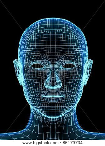 Transparent human head. X-ray and mesh