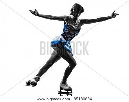 one  woman ice skater skating in silhouette on white background