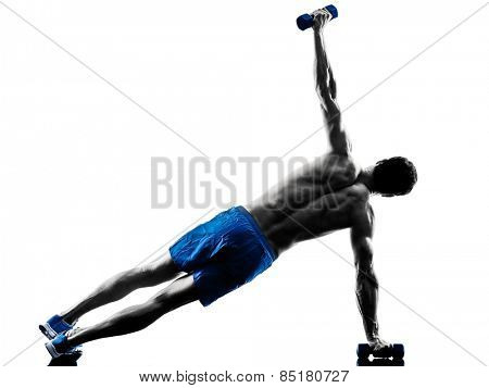 one caucasian man exercising fitness plank position exercises in studio silhouette isolated on white background