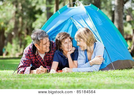 Smiling family camping in park on sunny day