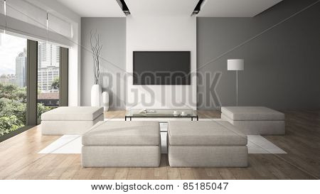 Modern interior in minimalism style 3D rendering